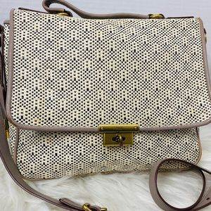 FOSSIL LEATHER WOVEN LEATHER CROSSBODY